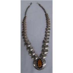 Sterling Silver Reversible Necklace w/Amber Pendant
