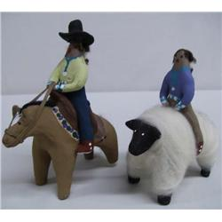 Navajo Figures Riding Sheep & Horse
