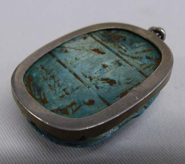 1950 egyptian turquoise scarab pendant in silver setting image 2 1950 egyptian turquoise scarab pendant in silver setting aloadofball Gallery