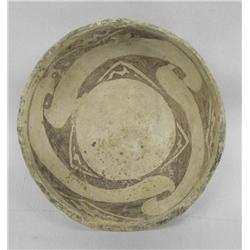 Prehistoric Mimbres Wind Pattern Negative Bowl