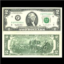1995 $2 US Note Crisp Unc Poker Hands Fancy Ser# (CUR-06038)