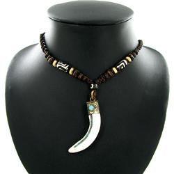 Tibet Shell Nickel Horn Pendant Choker Necklace (ANT-1319)