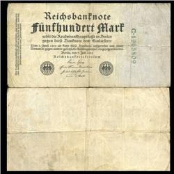 1922 Germany 500 Mark Note Hi Grade Rare (CUR-05669)