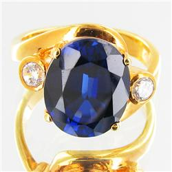 28.4twc Lab Diamond/Sapphire Gold Vermeil Ring (JEW-3519)