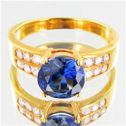 16.9twc Lab Diamond/Sapphire Gold Vermeil Ring (JEW-3527)