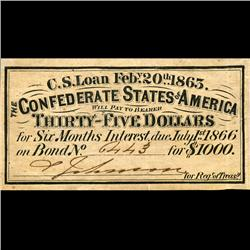 1863 Confederate $1000 Bond Coupon Uncirculated (CUR-06377A)
