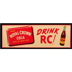 Royal Crown Cola Tin Sign NOS Near Mint