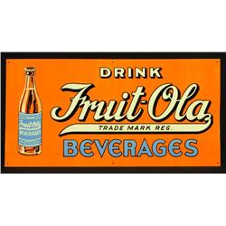 Fruit-Ola Beverage Tin Sign Near Mint NOS