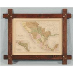 Early Texas Mexican Border Map Hand Tinted 1853