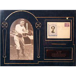 Framed autograph of Ty Cobb (1886-1961), signed on Abner Doubleday