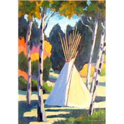"Waugh, Tom,  Indian Teepee, oil on canvas, 10"" x 8""."