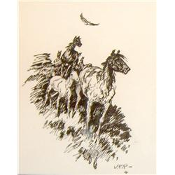 Ralston, J. K. (1896-1987), Horse and Colt, pen and ink,