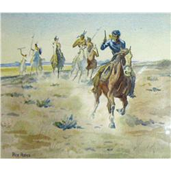 "Rieke, Rex, watercolor, The Chase, 8 ½"" x 10"", signed LL."