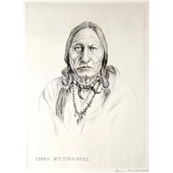 "Kleiber, Hans, etching, Chief Sitting Bull, 9 ½"" x 7 ¼"", signed LR."