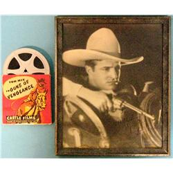 Tom Mix photograph with original film reel, Guns of Vengeance.