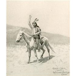 "Craig, Charles, Colorado (1846-1931), The Courier, 1894. 14 ½"" x 10 ¾"" water color/en grisaille."