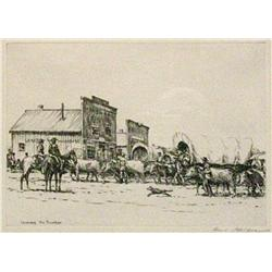 "Kleiber, Hans (1887-1967) etching, Leaving the Frontier, 7"" x 10-1/4"",  signed LR."
