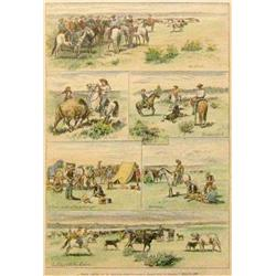 Huffman, L. A. (1854-1931) hand colored engraving, A Spring Round Up In Montana,