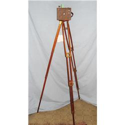 Box camera on wooden tripod, used overseas during World War I