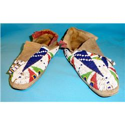 Fully beaded Plains Indian moccasins, 1900 ca.