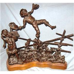 Schildt, Gary, bronze, Show Off, #17/25, 1979 (Tom Sawyer, showing off to Becky Thatcher).
