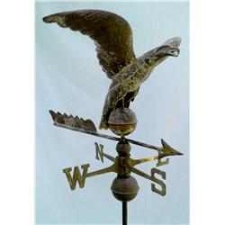Gilded copper eagle weathervane, rare.