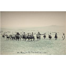 "Huffman, L. A., Starting on the Round Up, 1886, contemporary photo enlargement, 30"" x 36""."