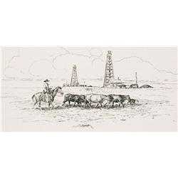 "Powell, Dave, art, cowboy leading cattle in front of old oil derricks, 6"" x 12""."