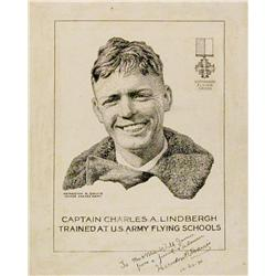 "Davis, Herndon, Captain Charles A. Lindbergh, pen and ink 8 ½"" x 6"","