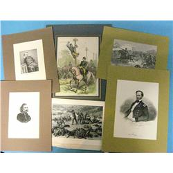 6 Custer related engravings, 1890's: