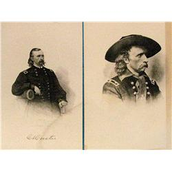 2 prints: G.A. Custer engraving after a Mathew Brady photo, 1880 ca,