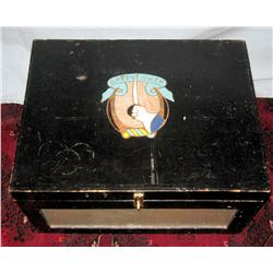 Garryowen hand painted box with hand painted insignia of the Seventh Cavalry.