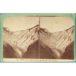 Stereo card, Calfee, H. P. (1847-1912), Grand Canyon from the Falls, Bozeman, M.T., 1870's ca.
