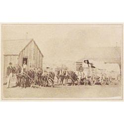Photograph of overland emmigrant wagon, CDV, possibly Virginia City, Montana, 1860's ca.