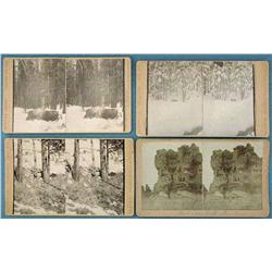 Group of 3 Stereo cards: Herbert W. Lord, hunting scenes in the Rocky Mountains,