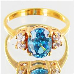 10.4twc Lab Diamond/Sapphire Gold Vermeil Ring (JEW-3530)