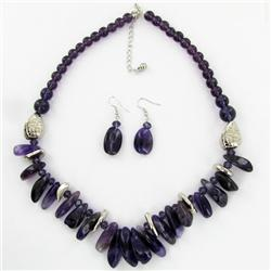 Amethyst & Crystal Necklace Earring Set (JEW-3446)