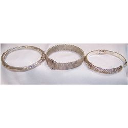 Three Sterling Silver Bracelets. (72.1g)