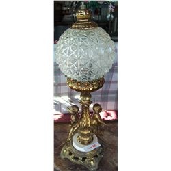 Vintage Cherub Cut Crystal Lamp.