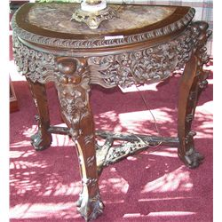 (2X The Bid) Two Antique Ornately Carved Marble Top Tables.