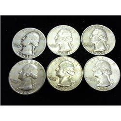 6 ASSORTED WASHINGTON SILVER QUARTERS