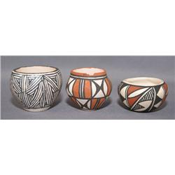 THREE ACOMA POTTERY JARS