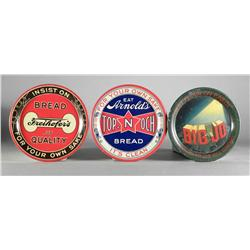 Three Advertising Tin Tip Trays