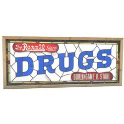 Rexall Drugs Leaded Glass Sign