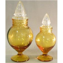 Pair of Amber Candy Jars