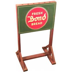 Bond Bread Tin/Wood Broom Holder