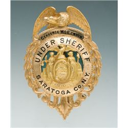 Fine Enameled 14K Gold Eagle & Shield Pattern Badge of Clarence McElwain, Under Sheriff for Saratoga