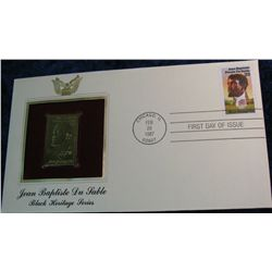 "18. 1987 ""Jean Baptiste Du Sable"" Black Heritage Series 22K Gold Stamp."