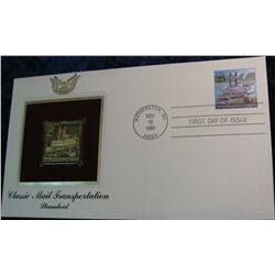 19. 1989 Classic Mail Transportation Steamboat 22K Gold Stamp
