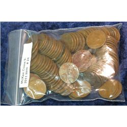 24. (100) Mixed Date Wheat Cents. Circulated.